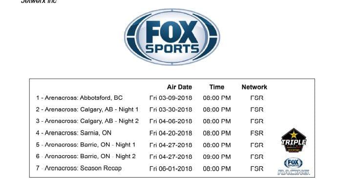 Fox Sports Tv Schedule 2018 Rockstar Energy Triple Crown